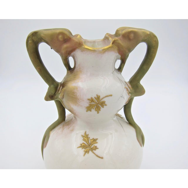 Late 19th Century Austrian Art Nouveau Amphora RStK Ivory Porcelain Vase With Dragon Handles For Sale - Image 12 of 13
