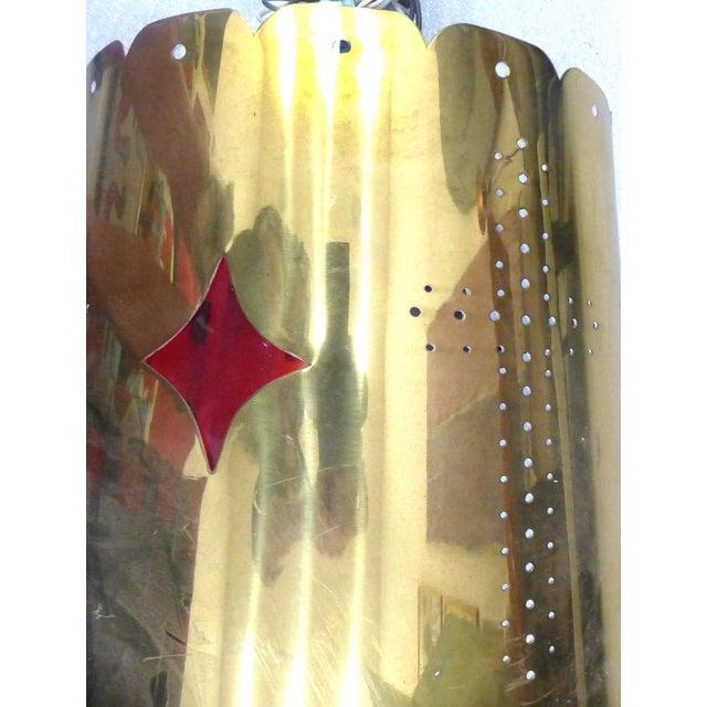 Mid-Century Modern Brass Pendant Fixture - Image 10 of 10