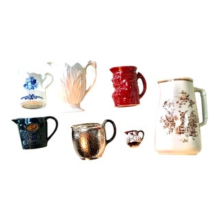 Vintage Collection of English Pottery Pitchers - Set of 7 For Sale