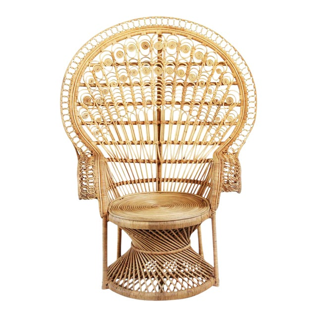 Raw Wicker Peacock Chair For Sale