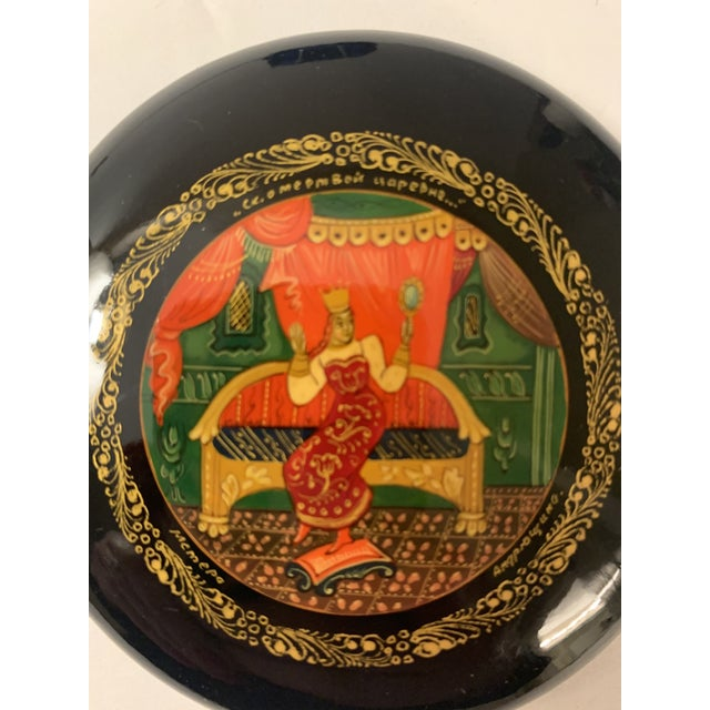 Paint Vintage Mstera Princess Art Russian Ussr Wooden Lacquer Hand Painted Box, Signed For Sale - Image 7 of 12