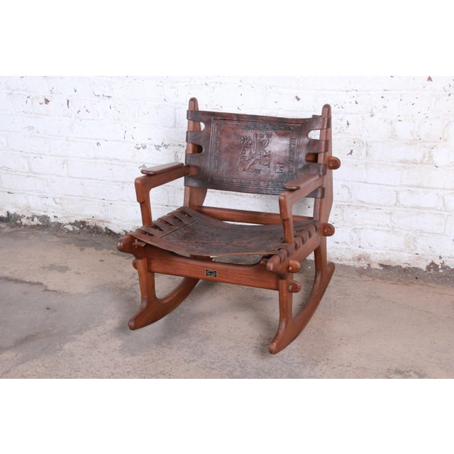 Angel Pazmino Teak and Leather Rocking Chair With Ottoman, Ecuador, 1960s For Sale In South Bend - Image 6 of 12