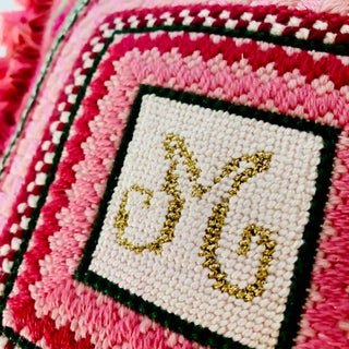 Vintage Ca 1960s Monogram M or W Needlepoint Pillow Preview