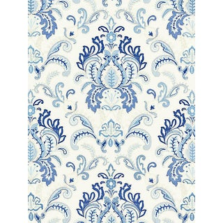 Scalamandre Ava Damask Embroidery, Porcelain For Sale
