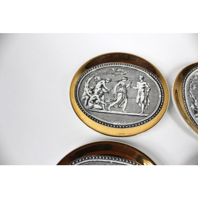 """Black """"Cammei"""" Gilt Porcelain Coasters by Piero Fornasetti - Set of 6 For Sale - Image 8 of 10"""