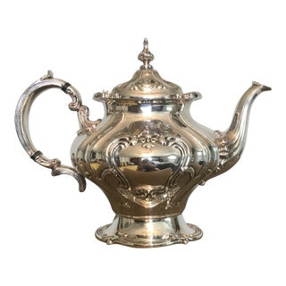 1910s Baroque Gorham Heavy Silver Plated Tea Pot For Sale