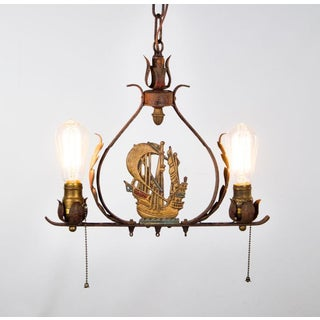 Vintage Brass and Iron Nautical Maritime 2 Light Chandelier Preview
