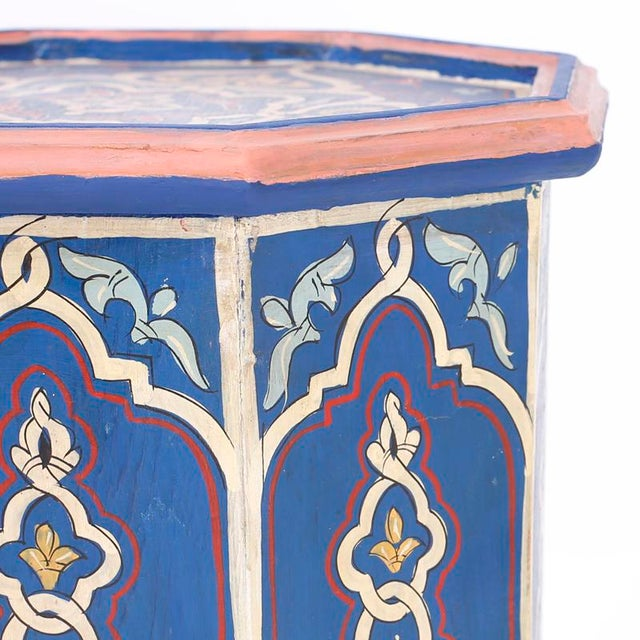 Royal Blue Antique Moorish Painted Stands - a Pair For Sale - Image 8 of 10