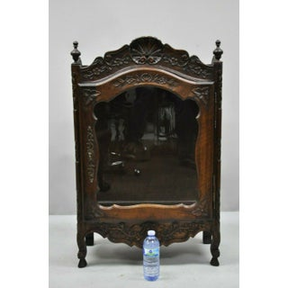 French Provincial Louis XV Style Carved Walnut Small Curio Cabinet Display Shelf Preview