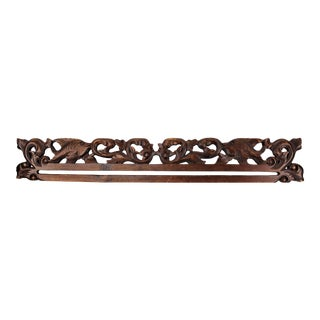 21st Century Vintage Balinese Hand Carved Wood Tapestry Hanger For Sale