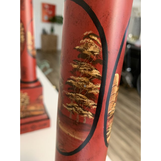 Chinese Painted Red Metal Table Lamps - a Pair For Sale - Image 11 of 13