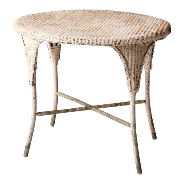 Antique Wicker Side Table For Sale