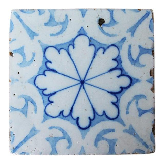 19th Century Portuguese Tin-Glazed Pottery Tile For Sale