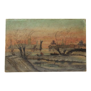 Antique Turn of the Century River Painting Amercian School 1905 Oil For Sale