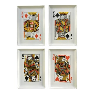 1960s Vintage Playing Card Bar/Snack Trays - Set of 4 For Sale