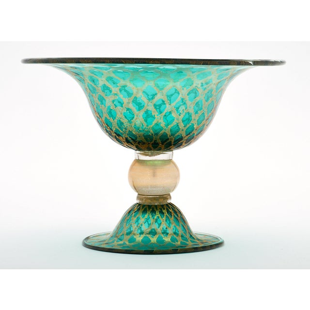 Set of Three Green and Gold Murano Glass Vases For Sale - Image 9 of 11
