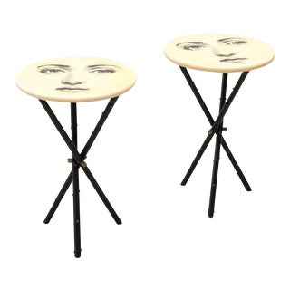 Rare Matching Pair of Side Tables by Piero Fornasetti, Italy, 1950s For Sale