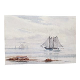 "Henry Peabody Flagg (American, B.1859) ""Sailing Ship"" Original Watercolor C.1910 For Sale"