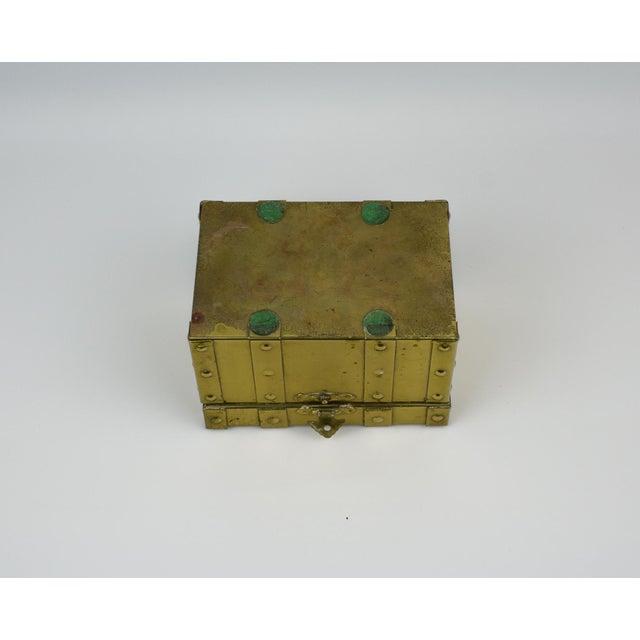 Sarreid Style Miniature Tabletop Brass Trunk For Sale - Image 9 of 12