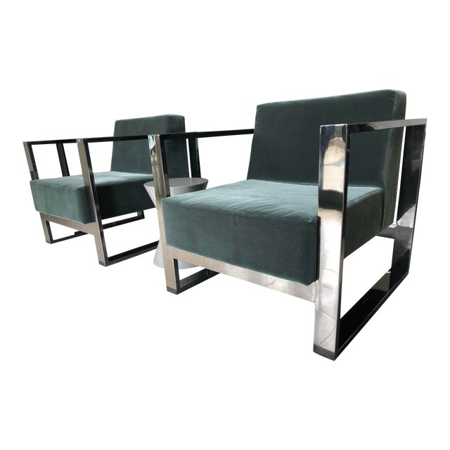 Mid Century Modern Cube Chrome Lounge Chairs - a Pair For Sale