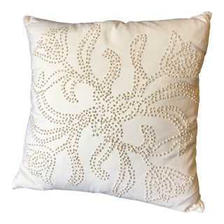 20th Century Boho Chic Candlewicking Pillow For Sale
