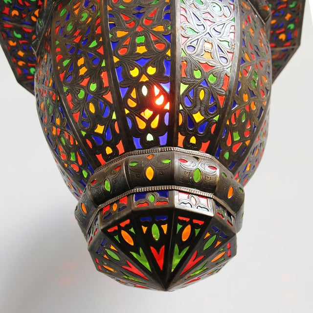 Moroccan Brass & Colored Glass Lantern - Image 5 of 5