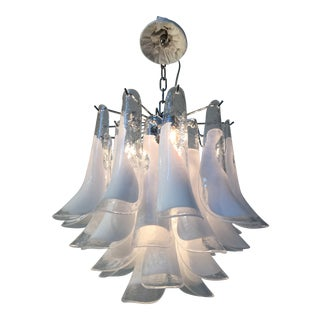 Italian Sella White and Transparent Chrome Metal Frame Murano Glass Chandelier For Sale