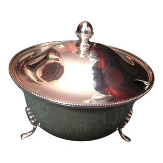 1963 English Silver Plated Circular Covered Bowl With Removable Top For Sale