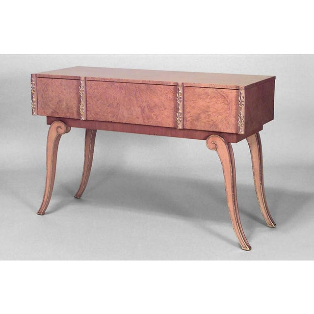 English Art Deco Parcel Gilt Maple Console Table For Sale - Image 4 of 5