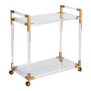 Regina Andrew Modern Acrylic and Gold Finished Bar Cart For Sale