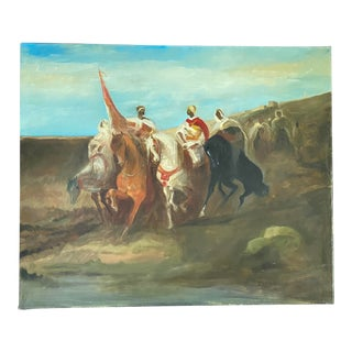 """Late 20th Century """"Bedouins on Horseback"""" Figurative Oil Painting For Sale"""