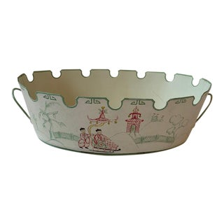 Vintage Chinoiserie Tole Cachepot For Sale
