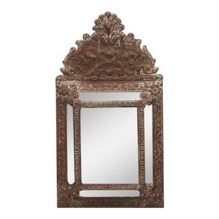 Dutch Baroque Style Repoussé Brass Mirror For Sale