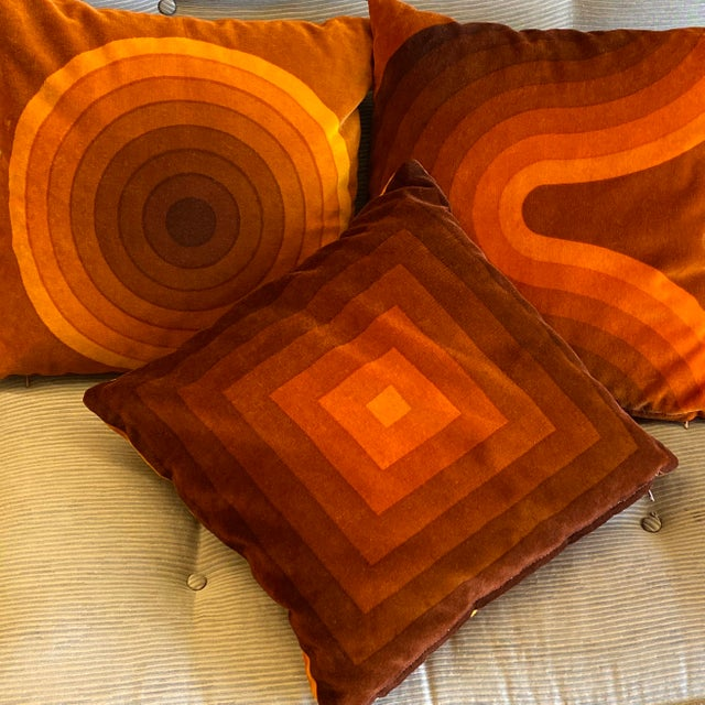 Mid-Century Modern Verner Panton Velour Pillows - Set of 3 For Sale - Image 9 of 13
