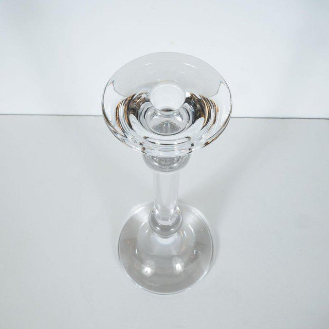 1960s Mid-Century Modern Handblown Banded Candlesticks by Val St. Lambert - a Pair For Sale - Image 5 of 8