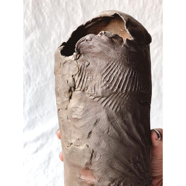 Late 20th Century Tall Vintage Western Raku Imprint Abstract Vase For Sale - Image 5 of 9