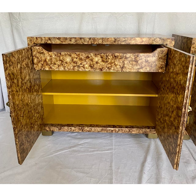 Vintage Henredon Faux Tortoiseshell Cabinets- a Pair For Sale - Image 9 of 13