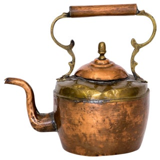 Antique Brass & Copper Tea Kettle
