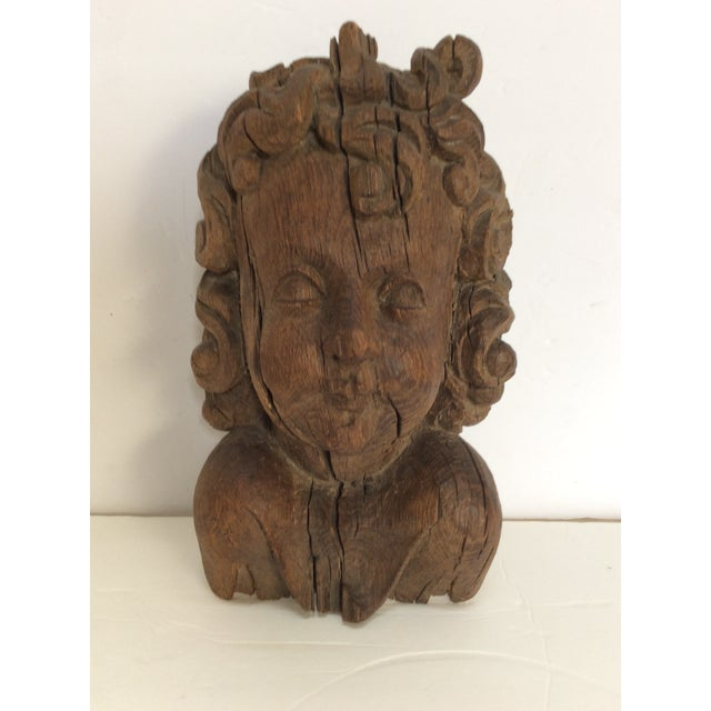 Flemish Carved Oak Cherub Head, 17th Century For Sale - Image 9 of 11
