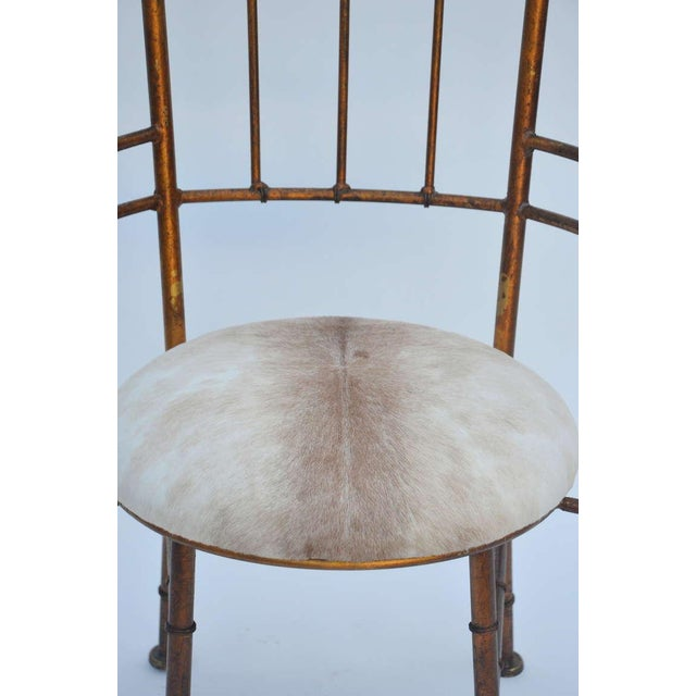 Gold Set of 3 Iron and Calf Hide Armchairs For Sale - Image 8 of 11