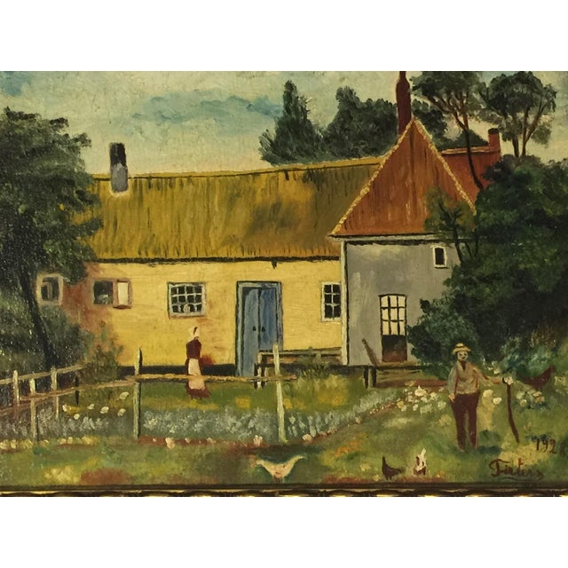 Antique Folk Art Oil Painting - Image 2 of 3