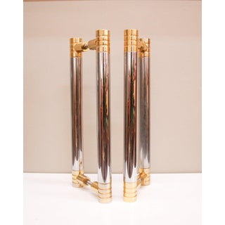 Massive Brass and Polished Stainless Steel Door Pulls, 1975 - A Pair Preview