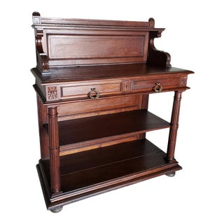 Antique French Hand Carved Oak Tiered Sideboard Server For Sale