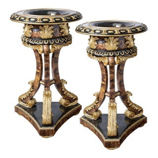 Pair of Gilt and Faux Tortise Shell Planters For Sale