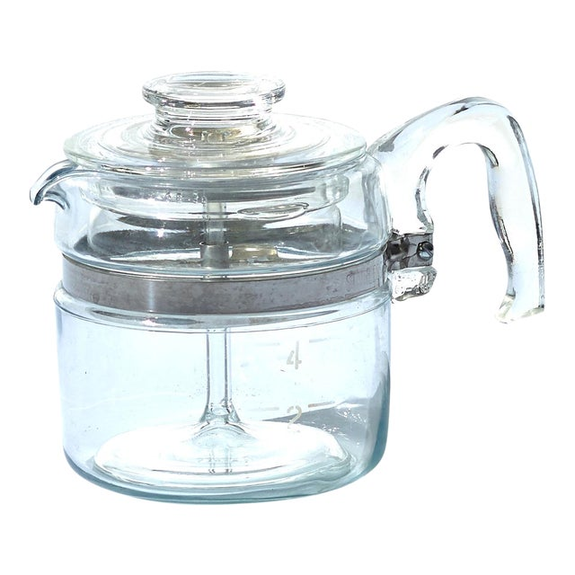 Vintage Clear Glass Pyrex Percolator Coffee Pot For Sale