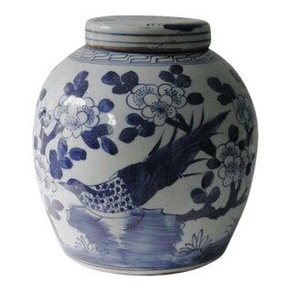 Blue & White Porcelain Chinoiserie Bird Jar For Sale