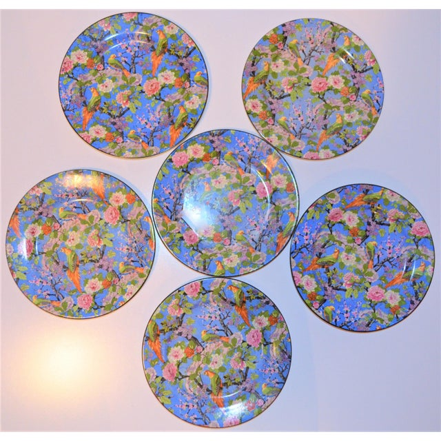 Crown Ducal 1920's Antique Crown Ducal Blue Chintz Plates - Set of 6 For Sale - Image 4 of 11