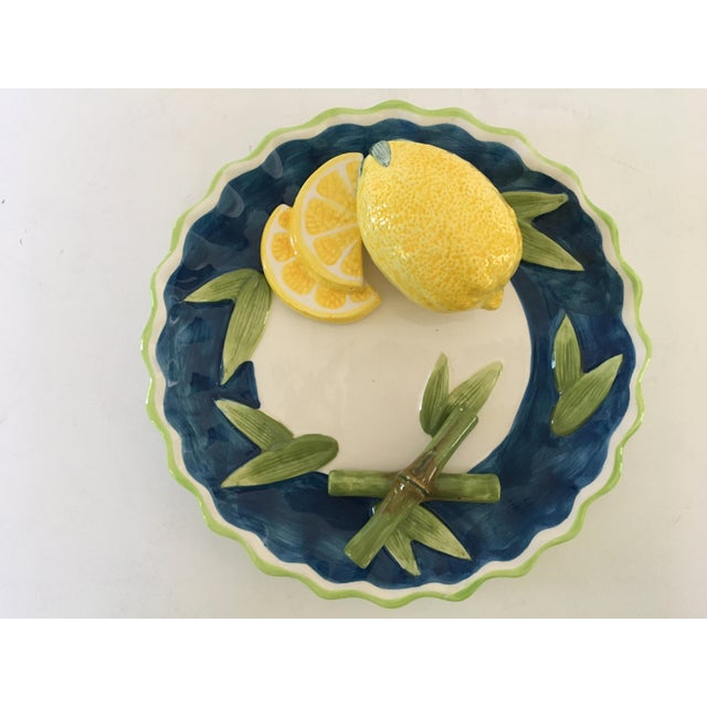 Blue Trompe l'Oeil Decorative Lemon & Bamboo Scalloped Plate For Sale - Image 8 of 8