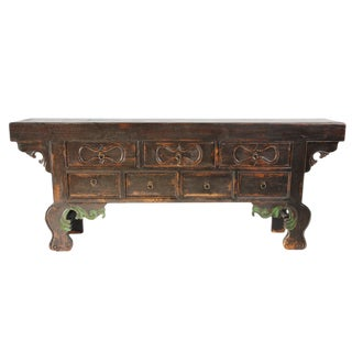 Antique Mongolian Black Sideboard For Sale