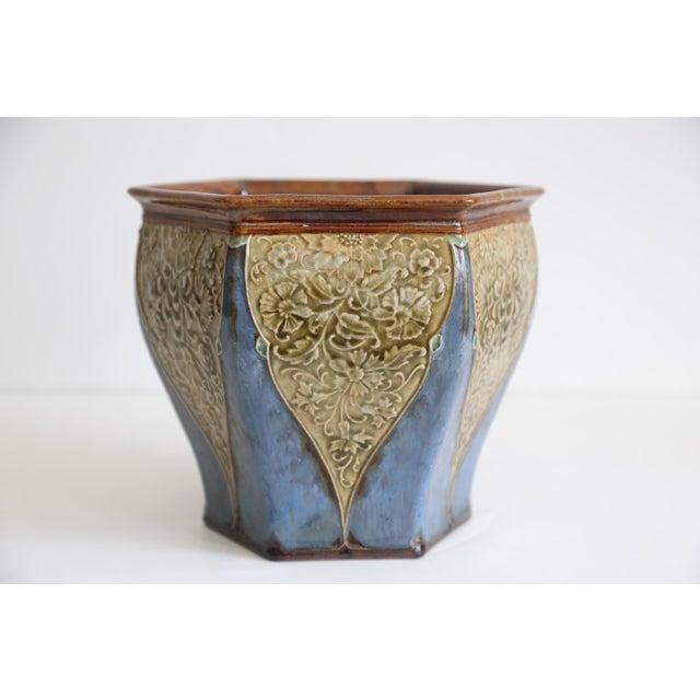 Antique English Royal Doulton Art Nouveau Jardiniere For Sale - Image 5 of 6